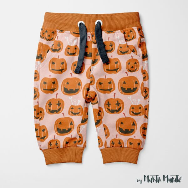 Halloween pants with pumpkins designed by Marta Munte
