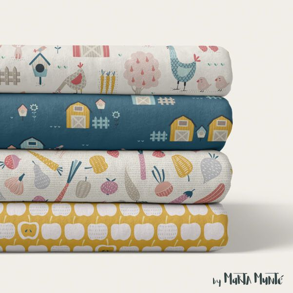 Fabrics of the happy farm collection by Marta Munte